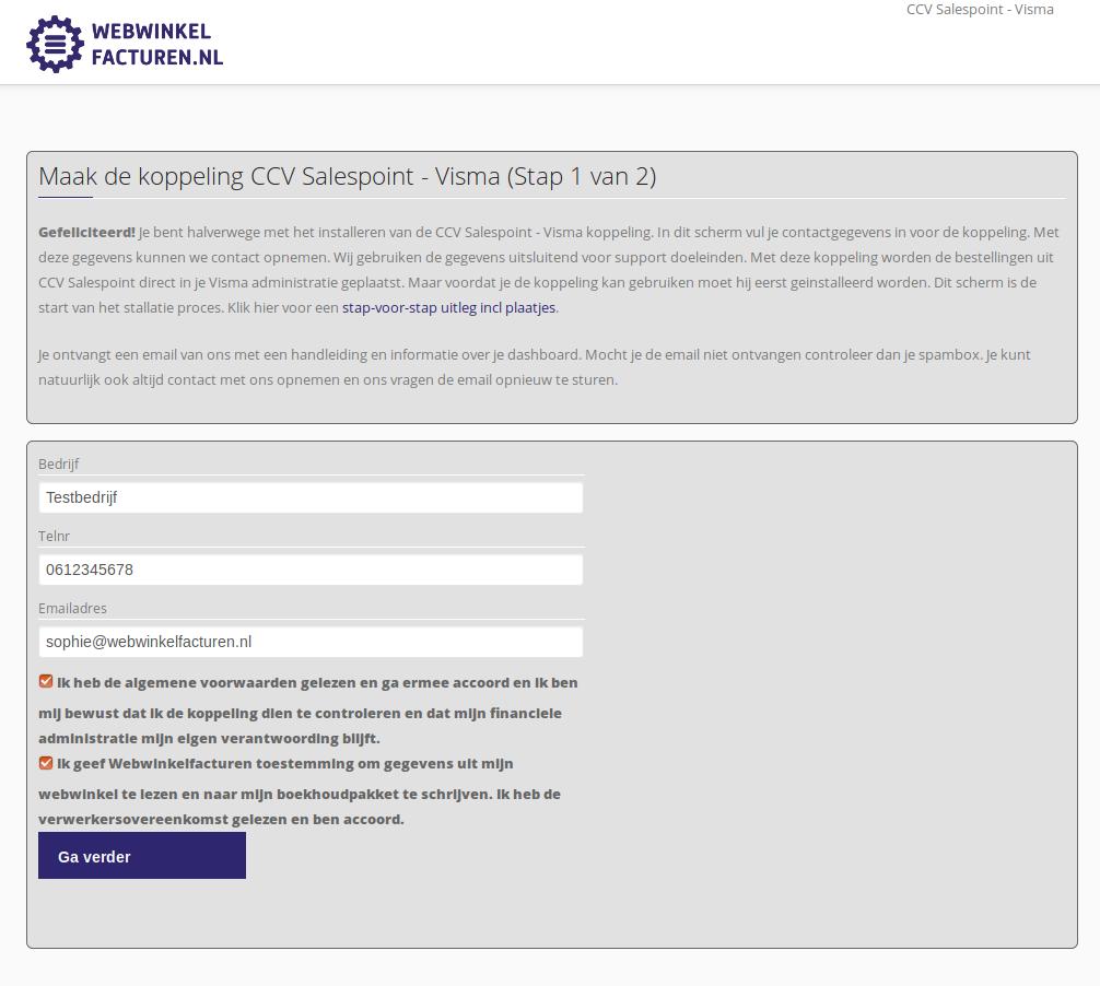 Eerste installatiescherm koppeling CCVSalespoint en e-Boekhouden.nl