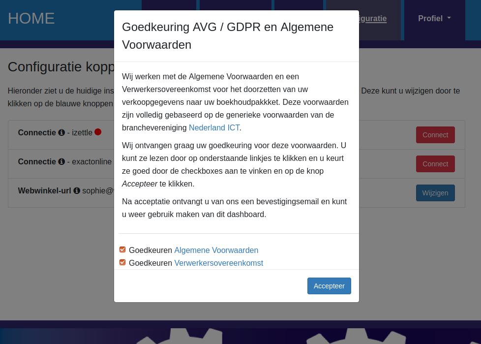Dashboard iZettle Exact Online voorwaarden