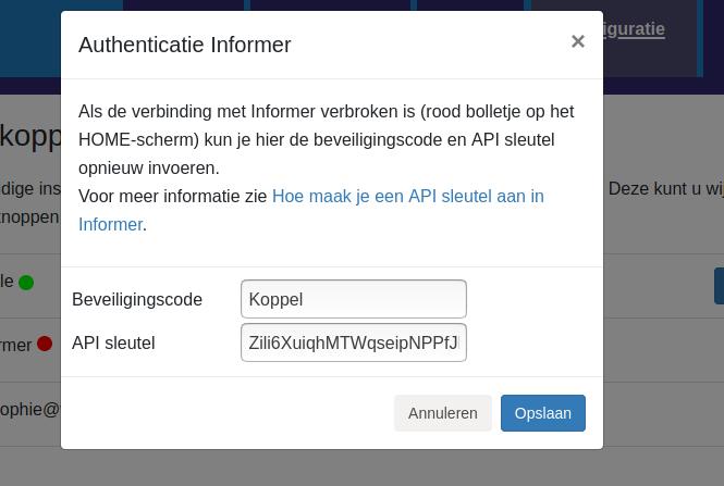 Dashboard Informer connectie