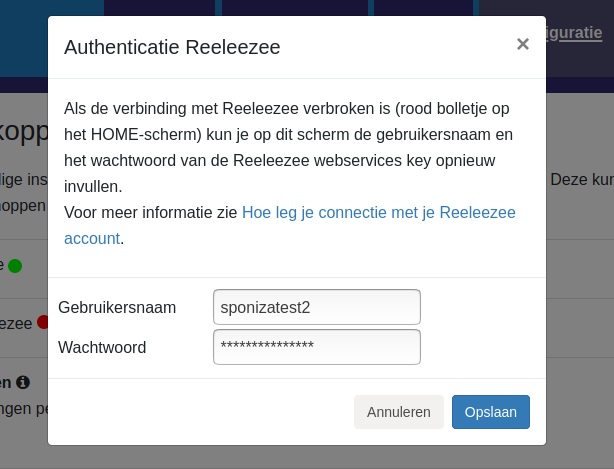 Dashboard Reeleezee connectie