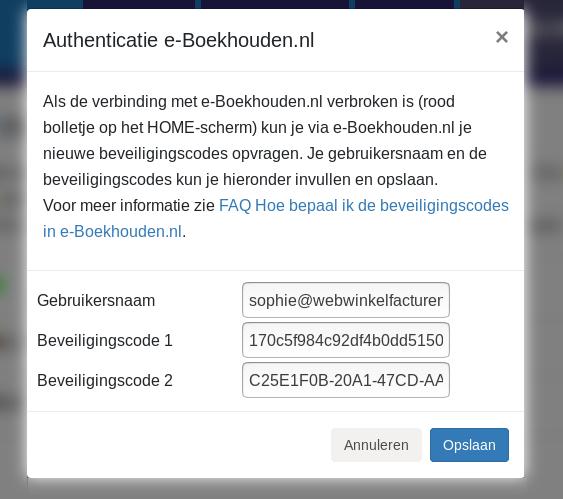 Dashboard e-Boekhouden connectie